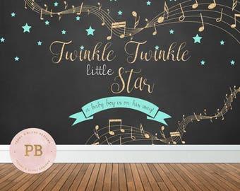 Digital Twinkle Twinkle Little Star Baby Shower Backdrop, Twinkle Little Star Banner, Twinkle Little Star Birthday Backdrop