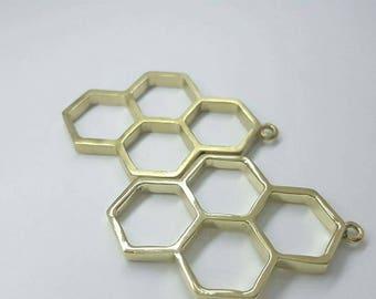 4pcs Antique Brass Tone Base Metal Charms - Honeycomb 37x24mm AG000207