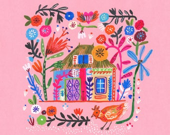 House on pink