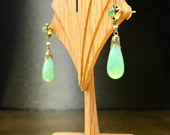 Her Jade Earrings | Her Green Earrings | Her Jade Jewelry | Her Leaf Earrings | Her Green Earrings | Her Art Nouveau Jewelry | 50th Jewelry