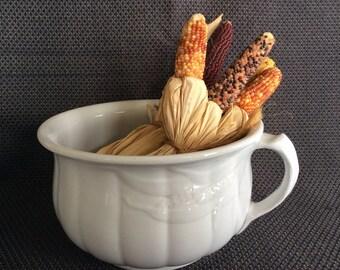 Antique wheat pattern chamber pot Thomas Furnival ironstone potty white porcelain ceramic or