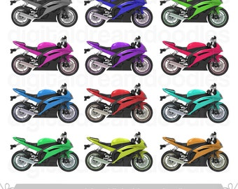 Yamaha Motorcycle Clipart, Motorcycles Clip Art, Motor Bikes Picture, Speed Bike Vehicle Image, Motorbike PNG Graphic, Digital Download