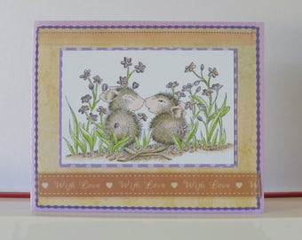 Mices card - Love card - Blank double greeting card - Hand colored - Main card color is lavender