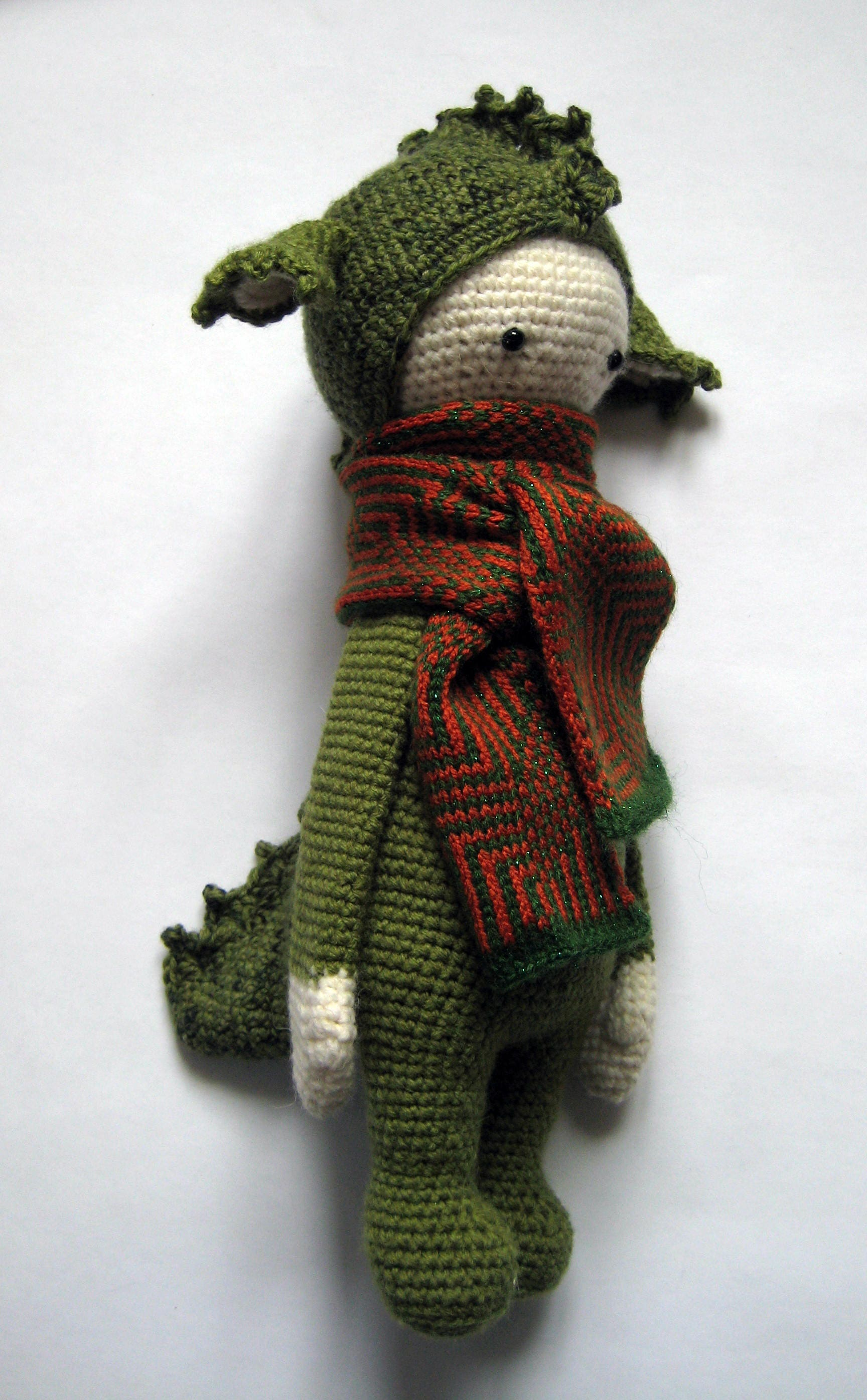 Green Dragon Amigurumi Pattern : Nursery baby gift Green dragon amigurumi Crochet doll Knit