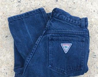 Vintage 80s 90s Palmetto's Dark Navy Blue High Waist High Rise Tapered Leg Denim Jeans - Size 5