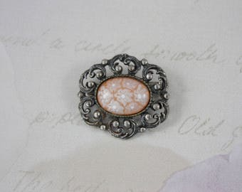 Small Silver Filigree Brooch, Vintage Silver Brooch, Millefiori Glass Brooch, Peach Glass Brooch, Oval Cabochon Brooch