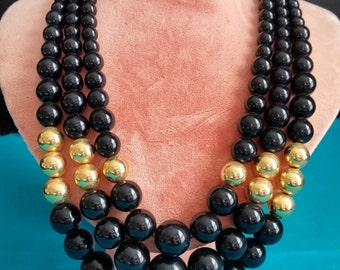 Beaded Necklace Vintage Three Strand Black and Gold Tone