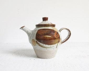 speckled stoneware teapot / vintage 70s glazed ceramic tea pot