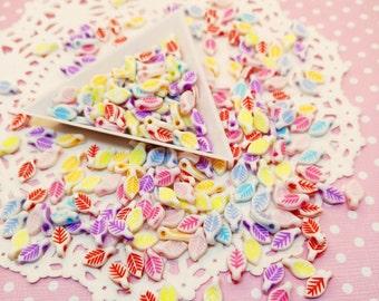 250pc Mini Leaf Assorted Color 10mm Beads Acrylic Plastic Bead Mix Decora Jewelry Craft DIY