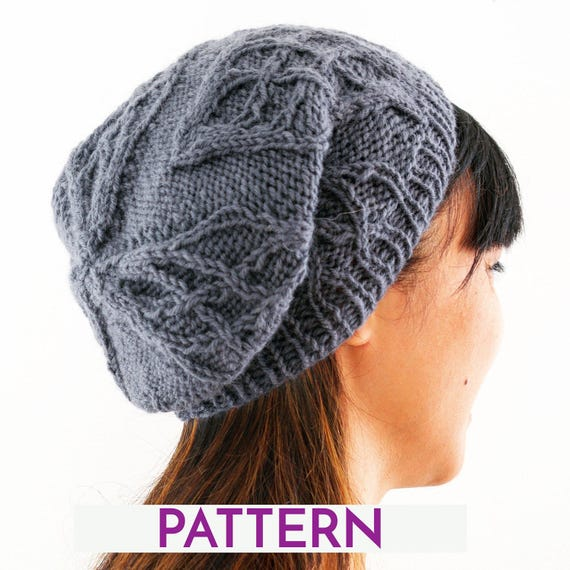 Knit Slouchy Beanie Pattern : Cabled slouchy beanie knitting pattern instant download