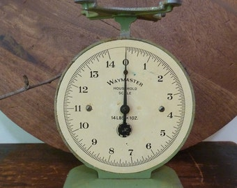 charming rustic art deco green waymaster household scales / vintage kitchen scales / primitive / green scales / vintage kitchen