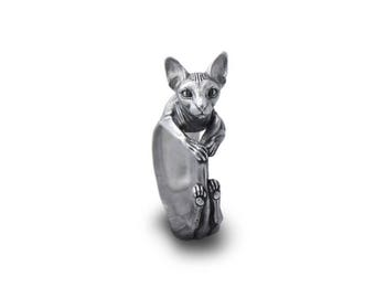 Sphynx ring Sphynx jewelry Cat ring Cats Love pets Silver cat Silver sphynx Animal ring
