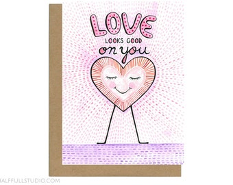 Love Looks Good on You Card, Wedding Day Card, Wedding Congrats, Engagement Card Friend, Love Card Her, Love Card Friend, Anniversary Card