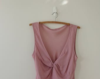 Blush Crepe Fabric Wrap Sleeveless Top Vintage Blouse