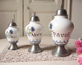 3 jars of earthenware and pewter apothecary / J. Goardere / arts and crafts / Blueberry / handmade / Ceramic Pot / pharmacy / french Vintage