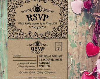 Wedding rsvp postcards, recycle wedding rsvp cards, Woodland Wedding RSVP cards, Wedding Response cards, Rustic wedding RSVP card