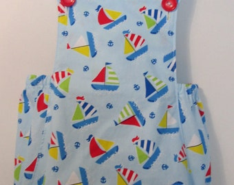 Baby boy romper *Vintage inspired * Nautical design * Handmade in England *