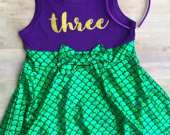 Little Mermaid Birthday Outfit / Mermaid First Birthday Outfit / Under the Sea Ariel Birthday Outfit / Minnie Mouse Ears / Mermaid Leggings