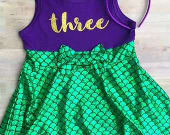 Mermaid Dress Girls / Little Mermaid Birthday Outfit / Mermaid Shirt First Birthday Outfit / Under the Sea Birthday Outfit / Mermaid Baby