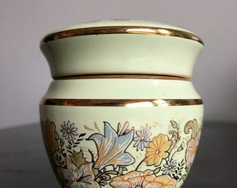 Vintage French Perfume Jar.Mint & Gold