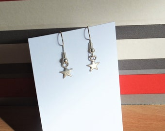 Delicate sterling silver star earrings, birthday or Mothers day gift for her, celestial earrings