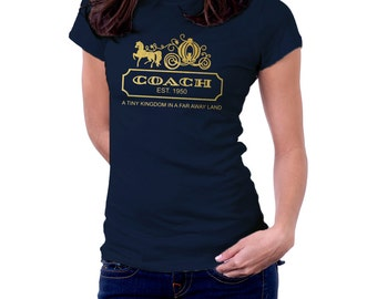 Gold Cinderella Coach  Princess Disney T shirt Women Men Children T shirt