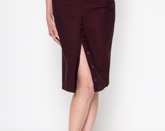 Two Pockets Midi Skirt / High Waisted Skirt / Vintage Skirt / Buttons Skirt / High Waisted Skirt
