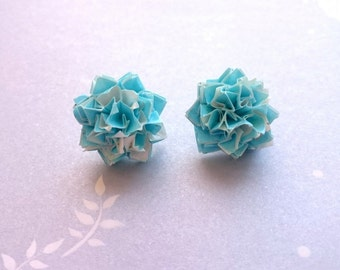 Origami earrings ** Handmade earrings ** Light blue mums