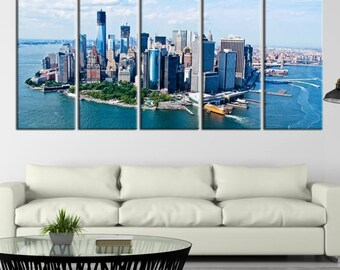 Extra Large Wall Art NEW YORK City Canvas Print, A Daylight Aerial View of the New York City, Skyline Canvas, Wedding Gift, Skyline Wall Art