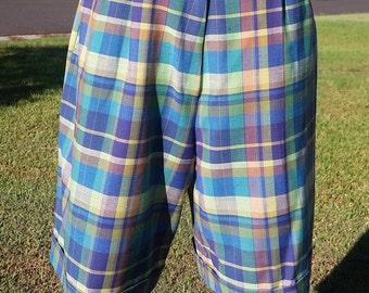 Vintage Shorts, High Waist Shorts, Ladies Plaid Shorts, 90's Shorts, Ladies 90's, Made in Australia, Skirtmaster, Pleat Shorts