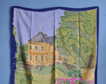 Vintage silk scarf, 80s silk scarf, house/garden/flower print silk scarf, illustration  square silk scarf