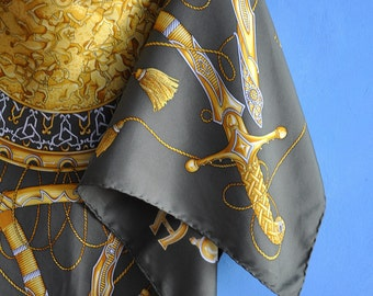 Vintage silk scarf, Aigner silk scarf, Green scarf, Silk print scarf, Made in Italy