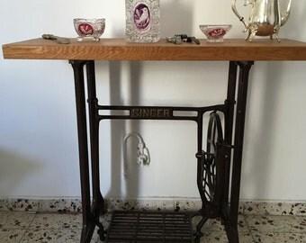 reclaimed vintage Singer sewing table, solid oak top