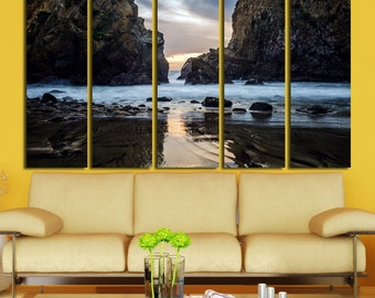 Large Wall Ocean & Mountain Canvas Color Rocks Multipanel Canvas Ocean Art Large  1-3-4-5 Panels  Seaside Wall Large