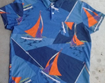 Ralph Lauren Sailing Polo All-Over Print Size Large
