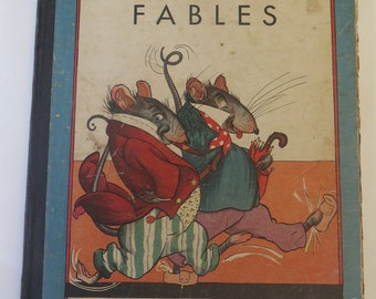 Fontaine's Fables, 1934, Vintage Illustrated Children's Book, Whitman Publishing Company, Racine, Wisconsin, 1930s