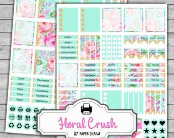 MINT Planner Stickers | Printable Erin Condren Stickers | GOLD FOIL Planner Stickers | Printable Floral Planner Stickers | Weekly Layout Kit