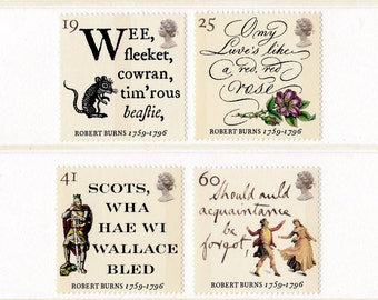 1996 Robert Burns Mint Unused Postage Stamps; Rabbie, love, red rose, Scottish, Scotland, Scots, Wallace, poetry, writing, prose, ballad