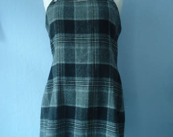 True vintage 90s dress dress 38/40 preppy College standard core gray black checkered Dungaree dress sporty girlie grunge felt