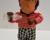 Vintage Drinking Thirsty Monkey Wind Up Tin Toy Alps Japan 1949, Good working order,