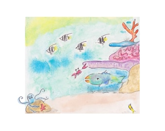 Parrotfish and Coral Crab - Watercolor Print. Coral reef. Beach House Decor. Nursery Art.