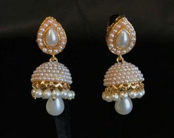 Moti Jewelry - Pearl Moti Jhumka - Indian Jhumki - Indian Jewelry - Indian Earrings - Bollywood Jewelry - Bollywood Earring - Kundan Earring