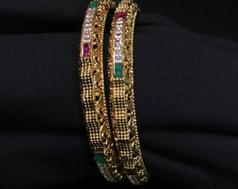 Indian Kangan - Gold Ruby Green Bangles - Indian Jewelry - Indian Bangles - Kundan Bangles - Kundan Jewelry - South Indian Jewelry - Desi -