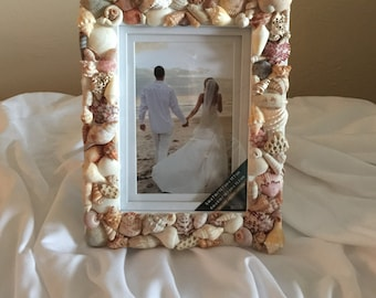 5 x 7 Seashell Picture Frame, beach wedding picture frame,shell frame,seashell frame,4 x6 seashell picture frame,wedding gift,wedding gift,4