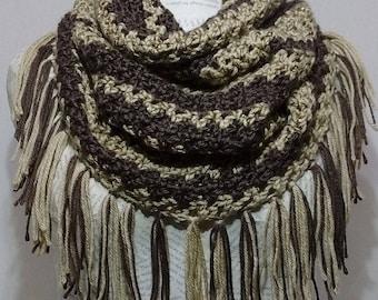 Hooded Cowl/Tasseled/Tassels/Scarf/Infinity/Brown/Taupe/Tan/Bone/Crochet/Crocheted Scarf