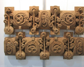 """ORIGINAL Extra Large Wall Sculpture """"Seabed"""" // Two Art Deco Cherry Woodcarving Consecutive Panels, Modern Solid Wood Combination Art Object"""