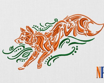 Tribal Fox machine  embroidery design. Patterned Fox patch. Embroidery file