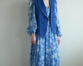 Blue Denim Shawl Collar Vest