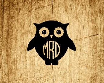 Owl Vinyl Monogram Decal