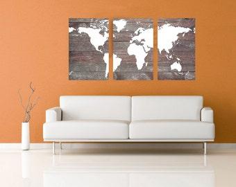 World Map Canvas Decor - Weathered Wood